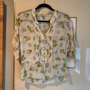 100% silk floral sheer blouse